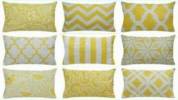 "12x20"" Yellow Accent Throw PILLOW COVER Sofa Couch Bed Home"