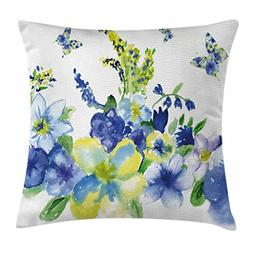 Ambesonne Yellow and Blue Throw Pillow Cushion Cover, Spring