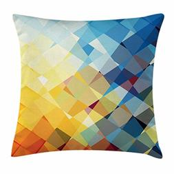 Ambesonne Yellow and Blue Throw Pillow Cushion Cover, Ombre