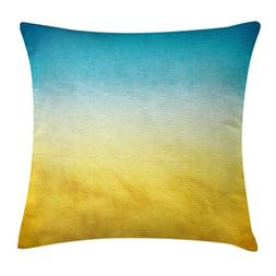 Ambesonne Yellow and Blue Throw Pillow Cushion Cover, Surf W