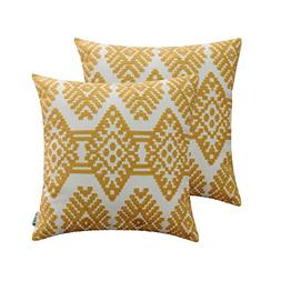 HWY 50 Cotton Embroidered Decorative Throw Pillow Covers Set