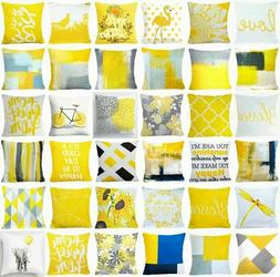 Yellow Throw PILLOW COVER Decorative Abstract Gray White Bed