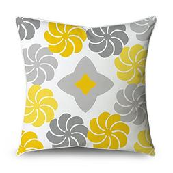 FabricMCC Yellow and Grey Flowers Square Accent Decorative T