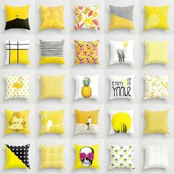 Yellow Pillow Case Sofa Car Waist Throw Cushion Cover Home D