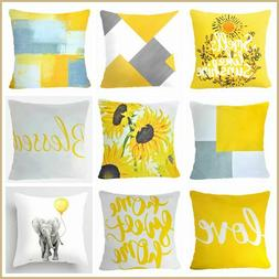 Yellow Throw PILLOW COVER Decorative White Floral Sofa Soft