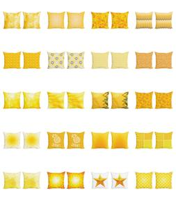 Ambesonne Yellow Tone Cushion Cover Set of 2 for Couch and B