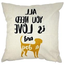 4TH Emotion All You Need is Love and a Dog Quote Throw Pillo