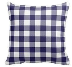 Yqy Navy and Blue Plaid Gingham Chess Pattern Square Polyest