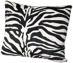Brentwood Originals 18-Inch Zebra Fur Pillow, Black