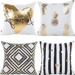 HOSL 4 Pack ZTTJ02 Gold Stamping Pattern Decorative Pillow C